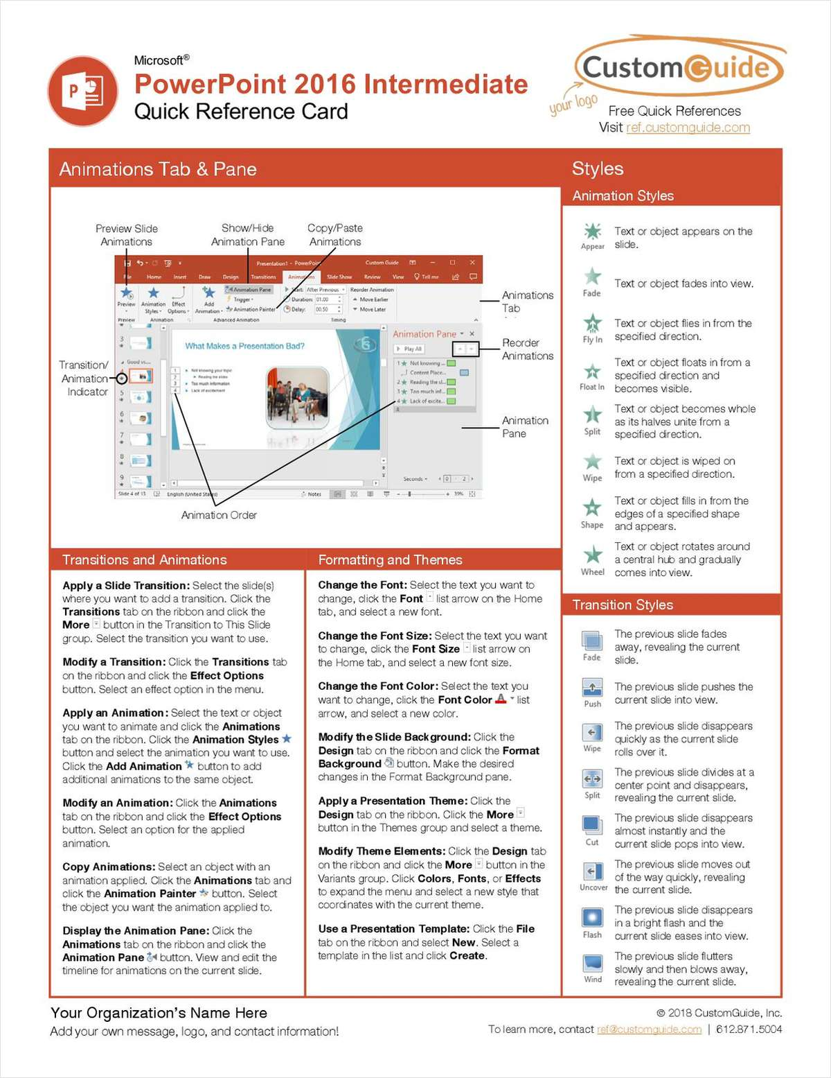 Microsoft PowerPoint 2016 Intermediate - Quick Reference Card