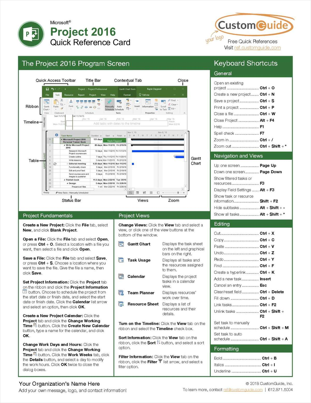 Microsoft Project 2016 - Quick Reference Card