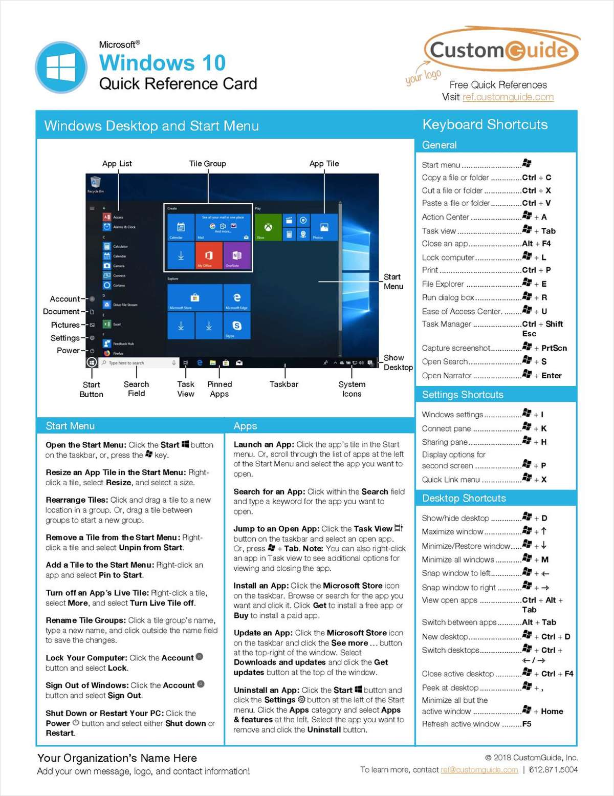 Microsoft Windows 10 - Quick Reference Card