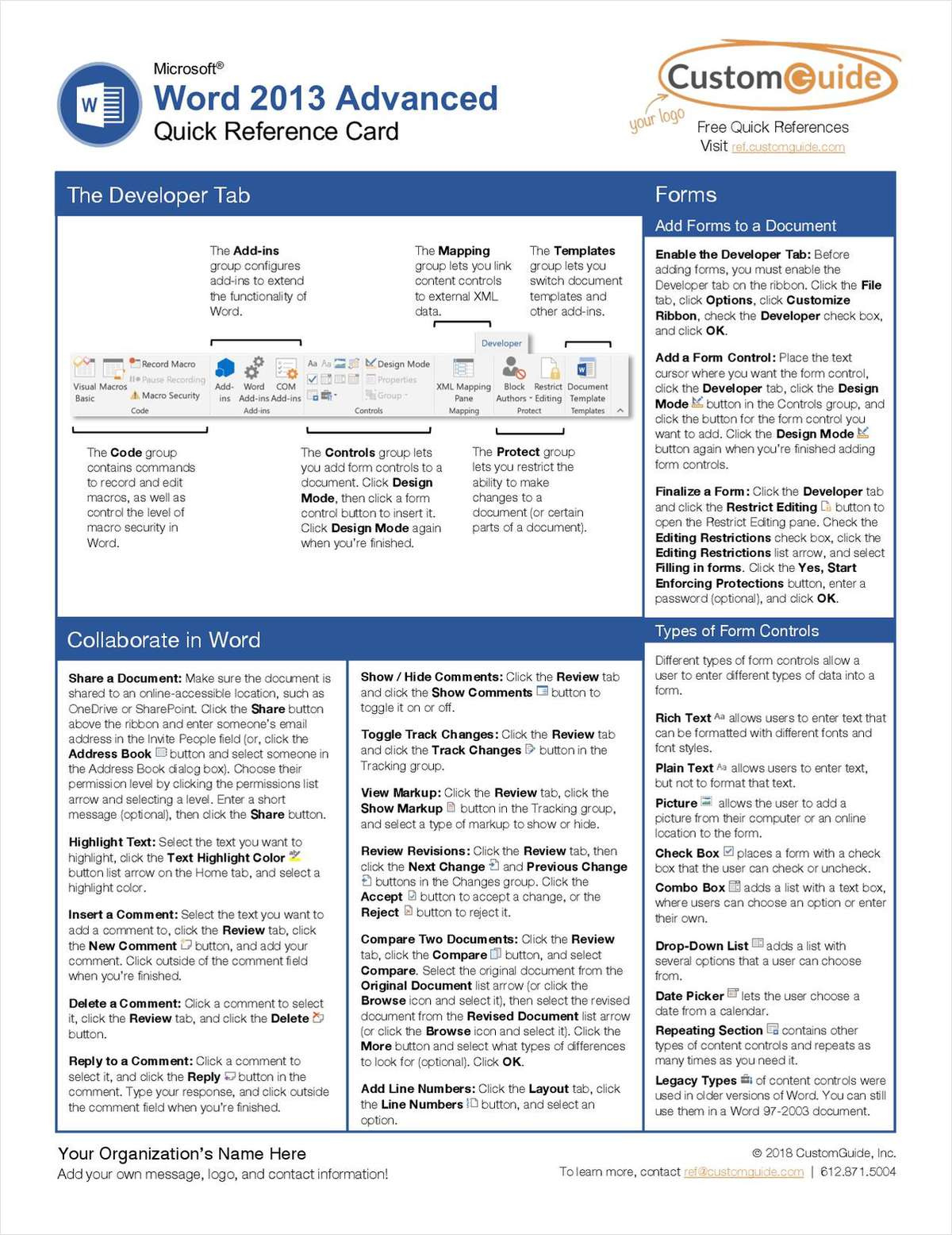 Microsoft Word 2013 Advanced - Quick Reference Card
