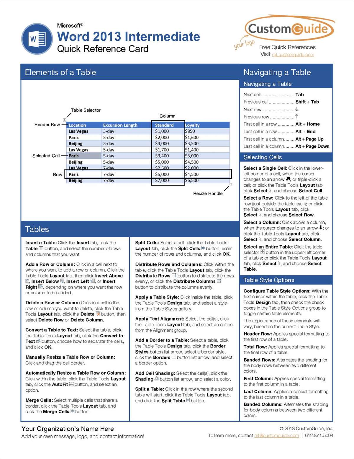 Microsoft Word 2013 Intermediate - Quick Reference Card