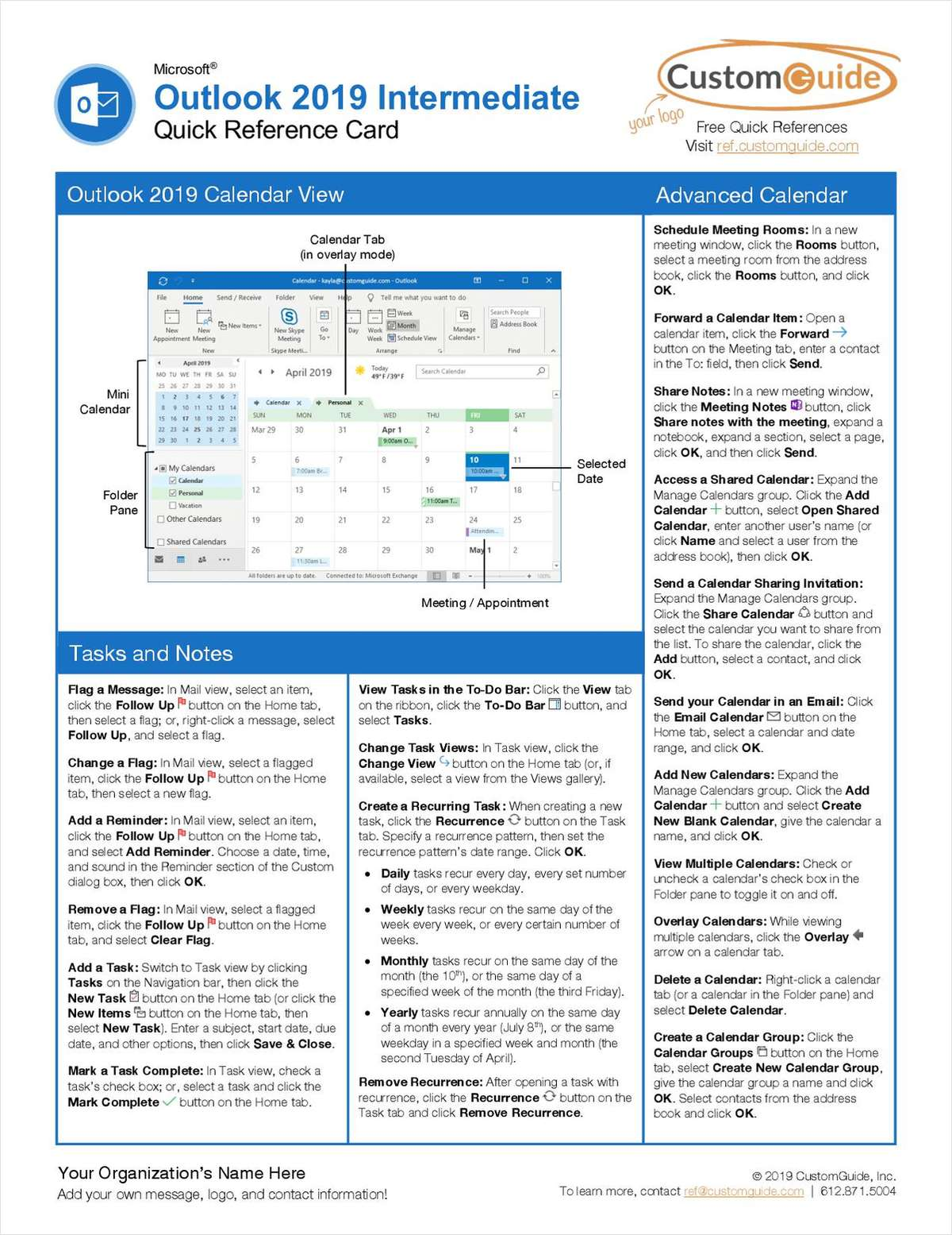 Microsoft Outlook 2019 Intermediate - Quick Reference Card