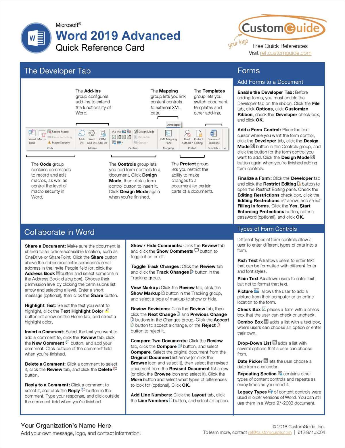 Microsoft Word 2019 Advanced -- Free Reference Card