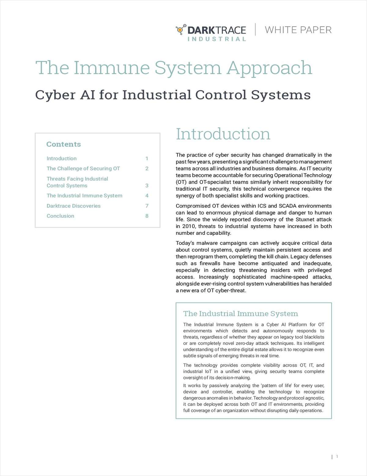 The Immune System Approach: Cyber AI for Industrial Control Systems