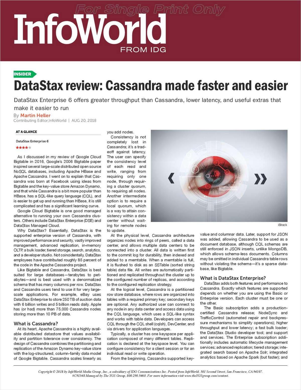 InfoWorld Article: Apache Cassandra Made Faster & Easier