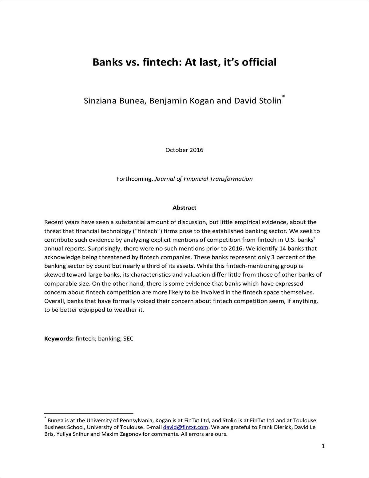 Banks vs. fintech: At last, it's official