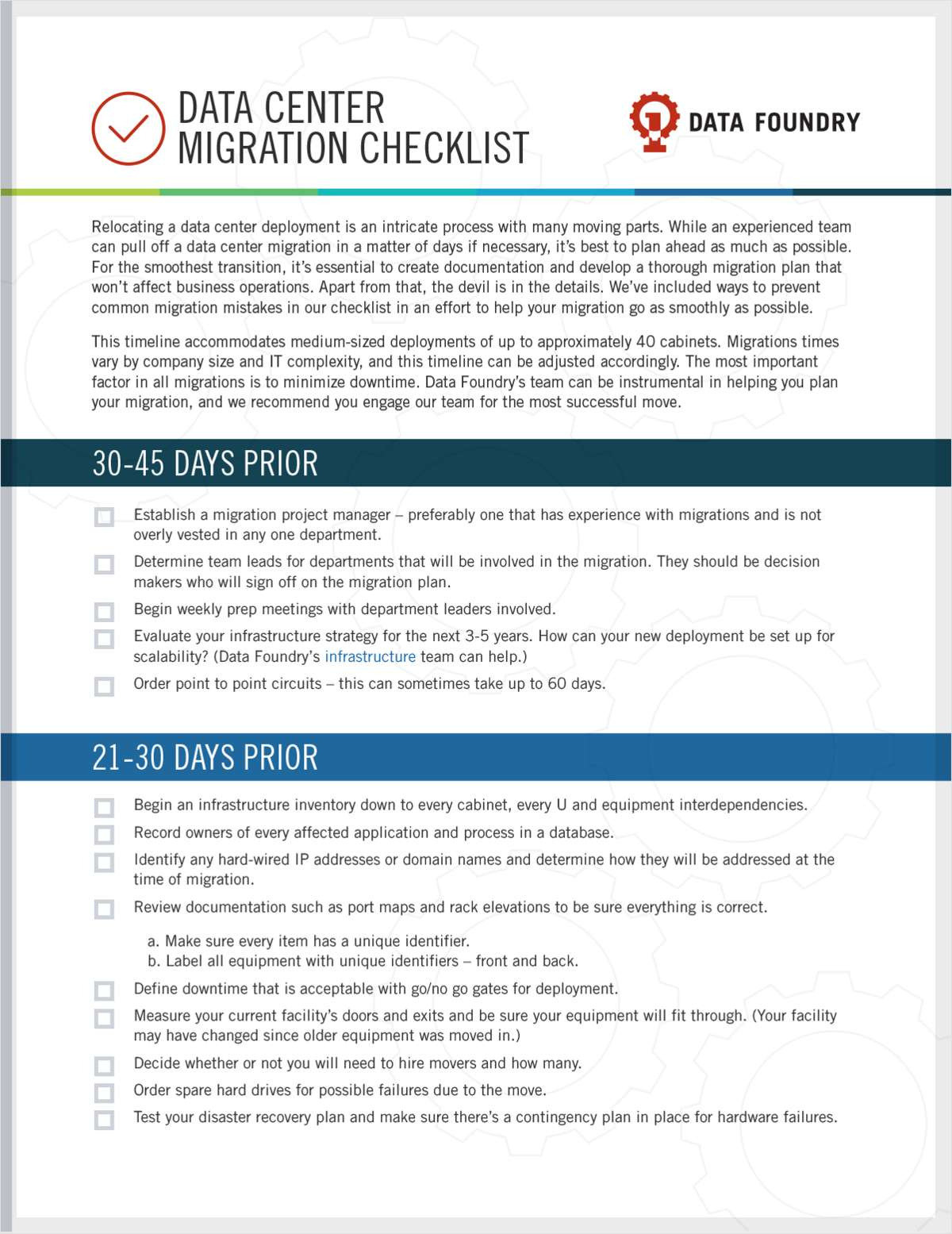 Data Center Migration Checklist, Free Data Foundry Checklist