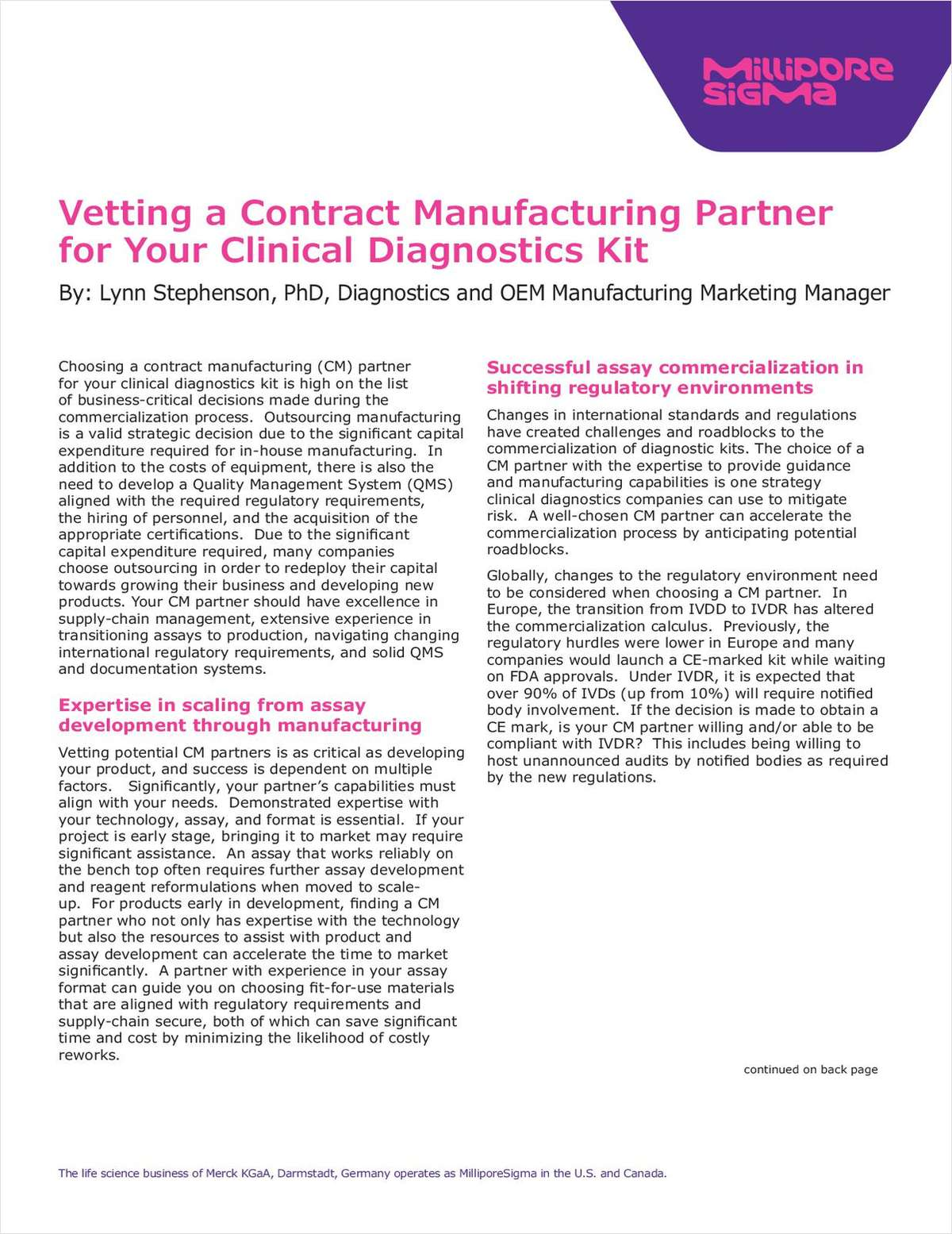 Vetting a Contract Manufacturing Partner for Your Clinical Diagnostics Kit