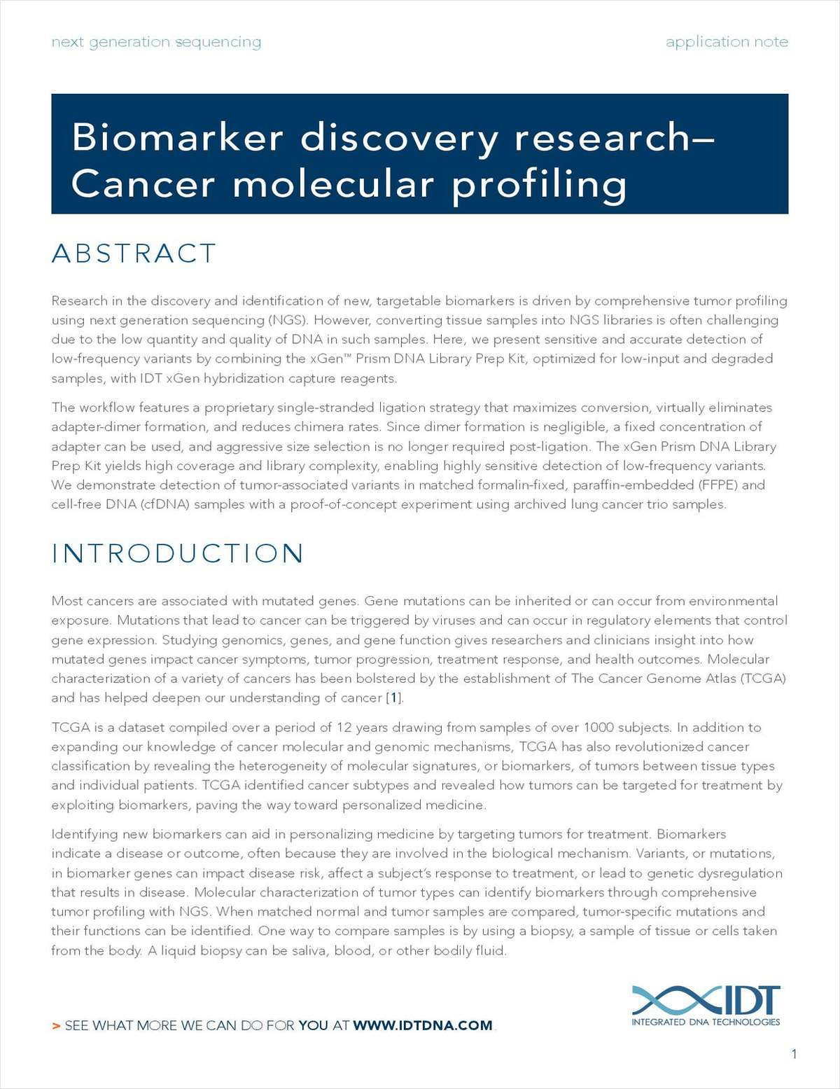 Biomarker Discovery Research -- Cancer Molecular Profiling