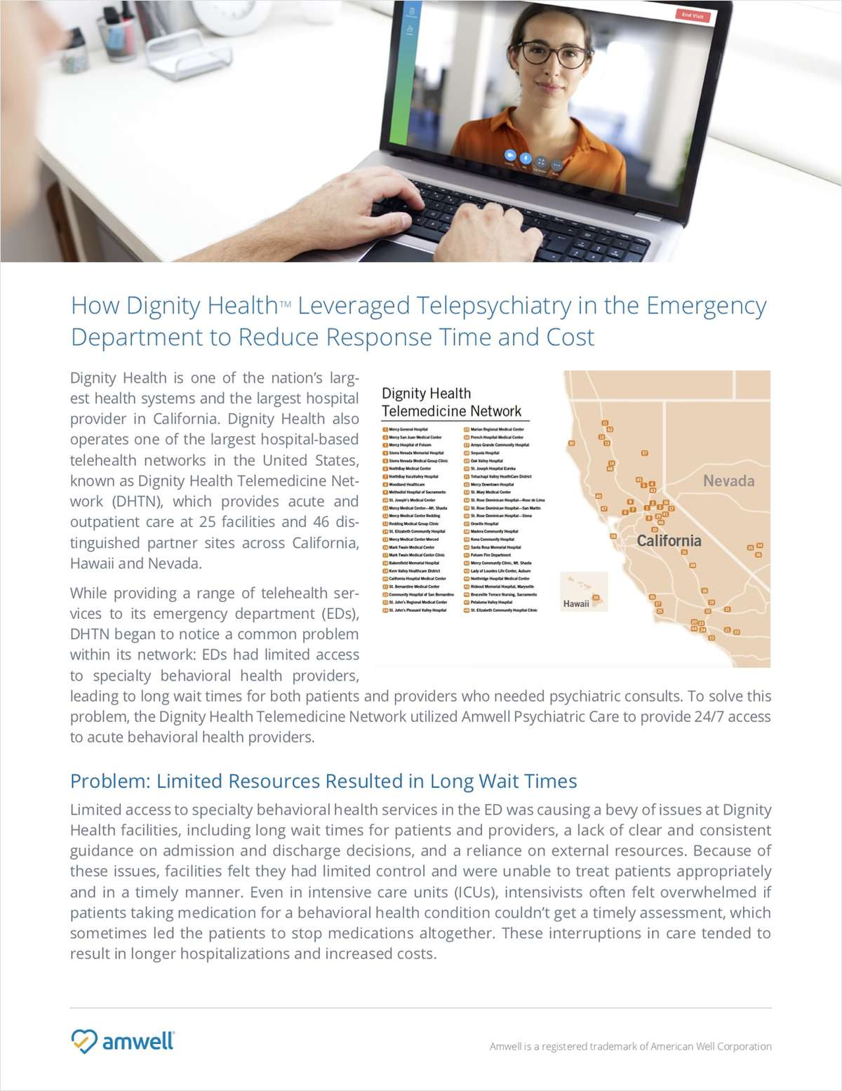 Dignity Health Launches Telepsychiatry to Reduce ED Response Time & Cost
