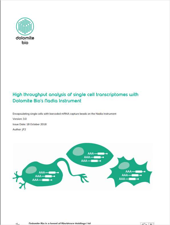 High Throughput Analysis of Single-Cell Transcriptomes with Dolomite Bio's Nadia Instrument