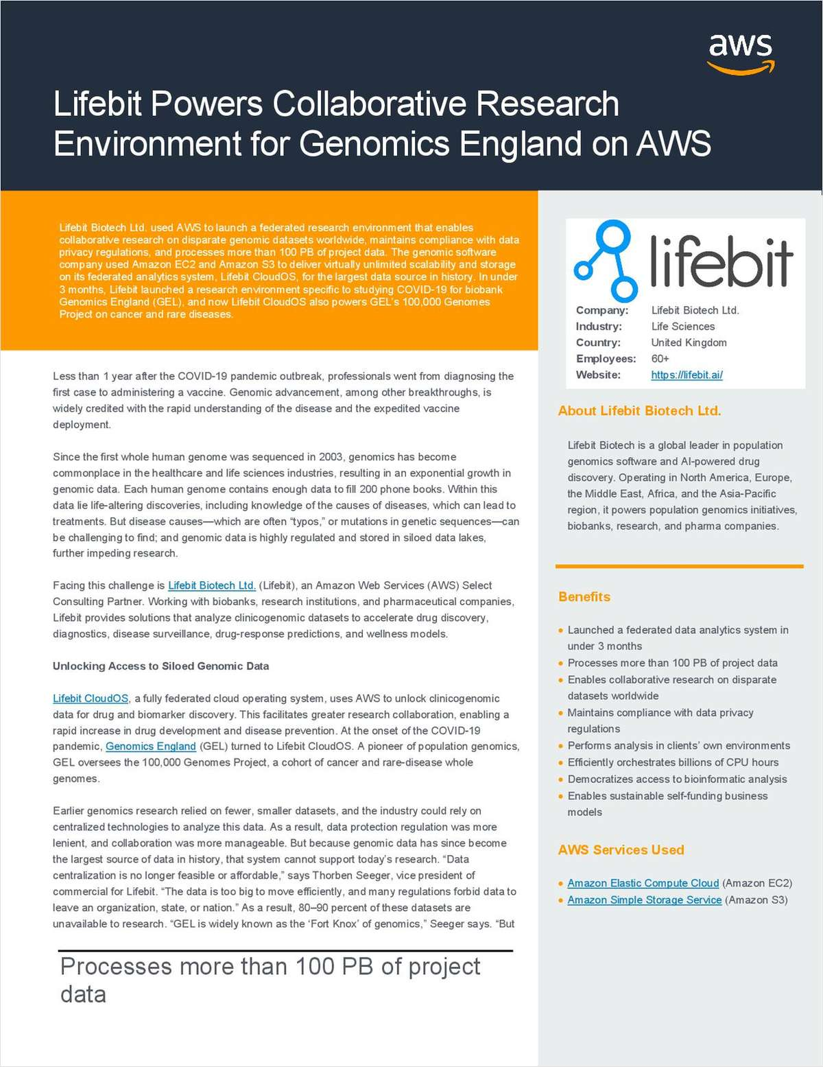 Lifebit Powers Collaborative Research Environment for Genomics England on AWS