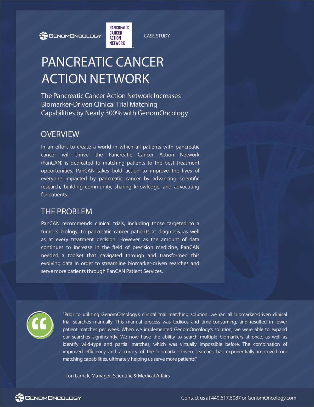 The Pancreatic Cancer Action Network Increases Biomarker-Driven Clinical Trial Matching Capabilities by nearly 300% with GenomOncology.