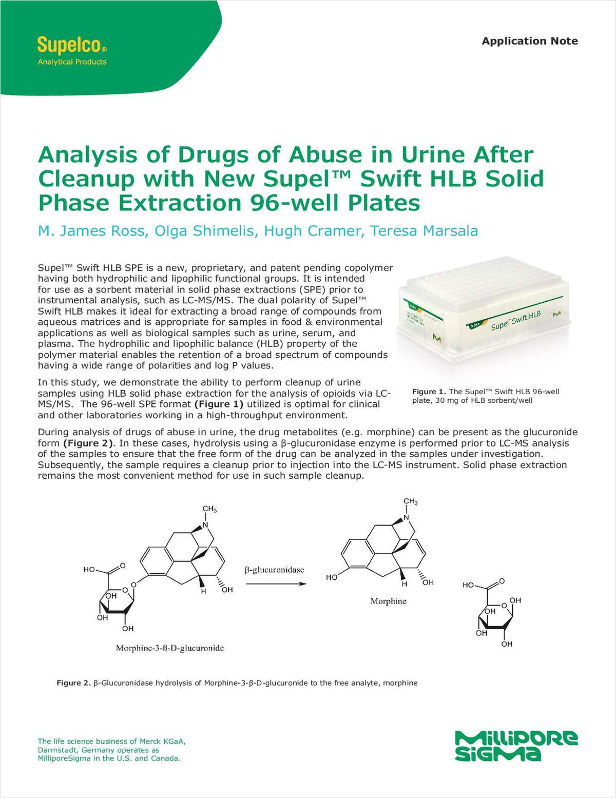 Analysis of Drugs of Abuse in Urine After Cleanup with New Supel Swift HLB Solid Phase Extraction 96-well Plates