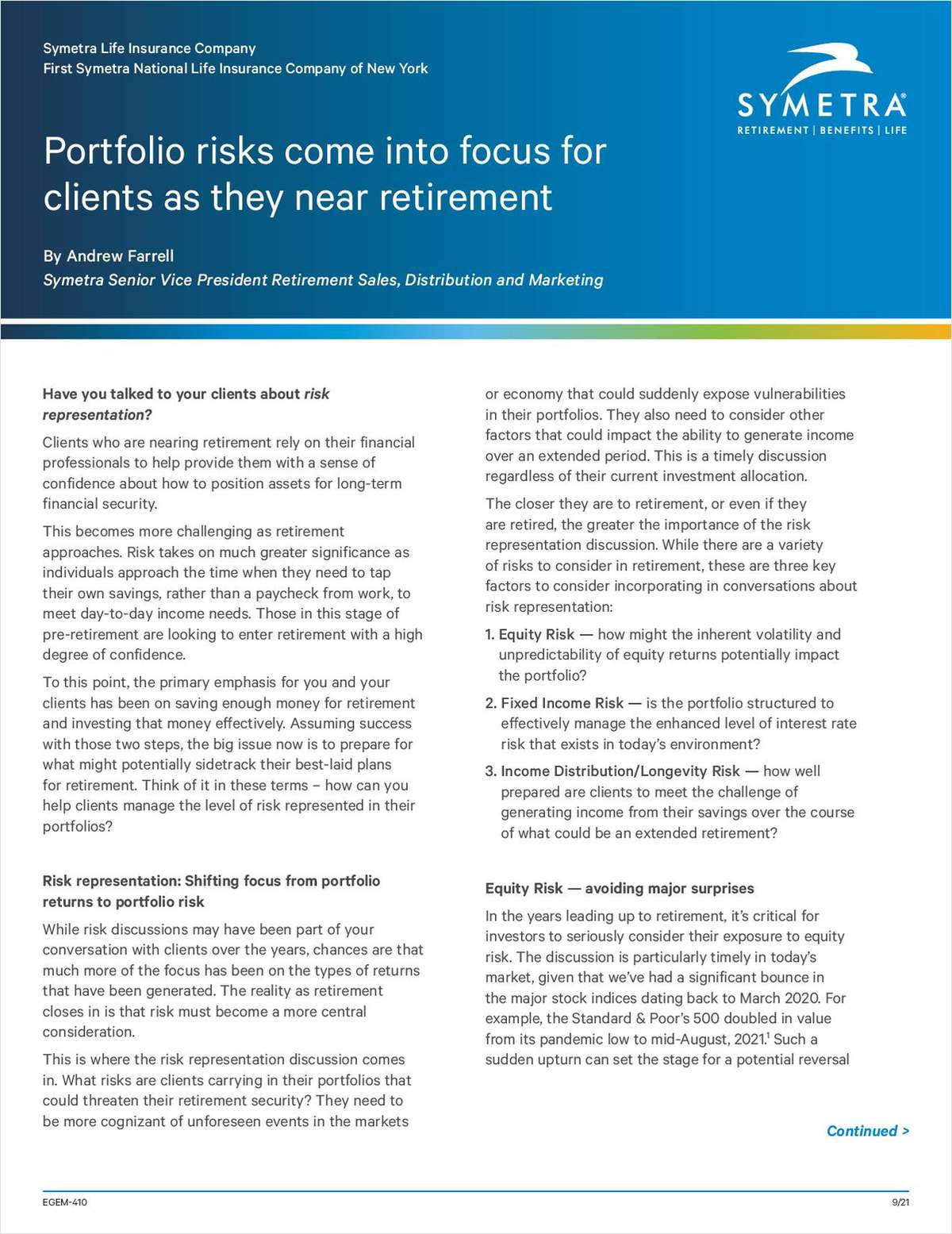Portfolio Risks Come Into Focus for Clients as They Near Retirement