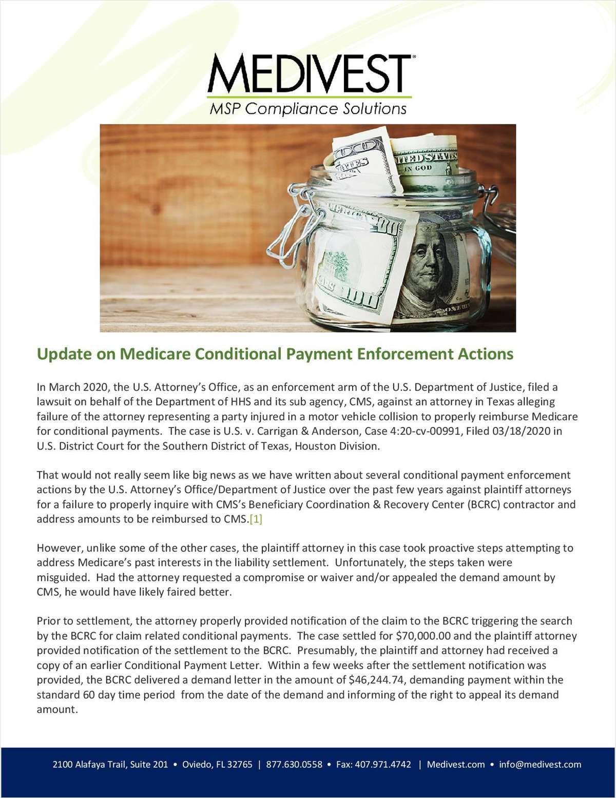 Avoiding Mis-Steps with Medicare Conditional Payment Enforcement Actions