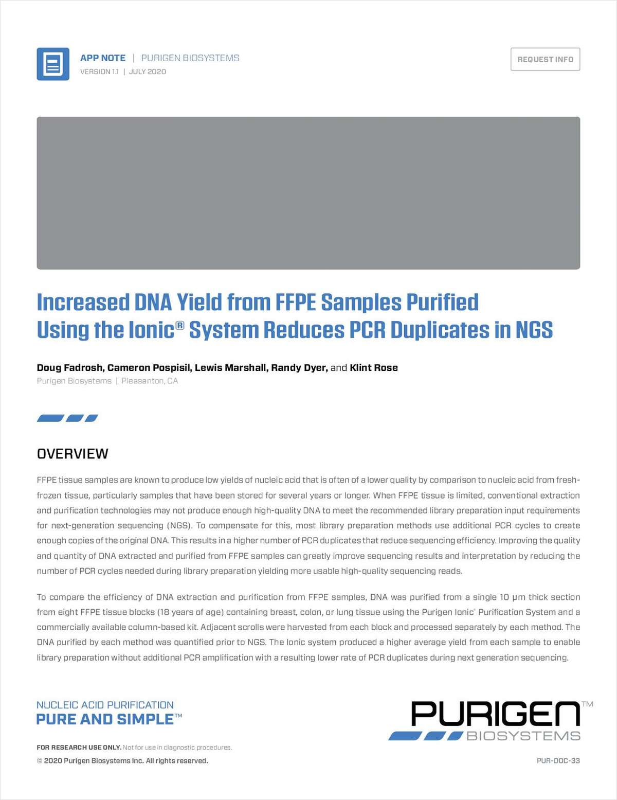 Increased DNA Yield and Reduced PCR Duplicates Using the Ionic System