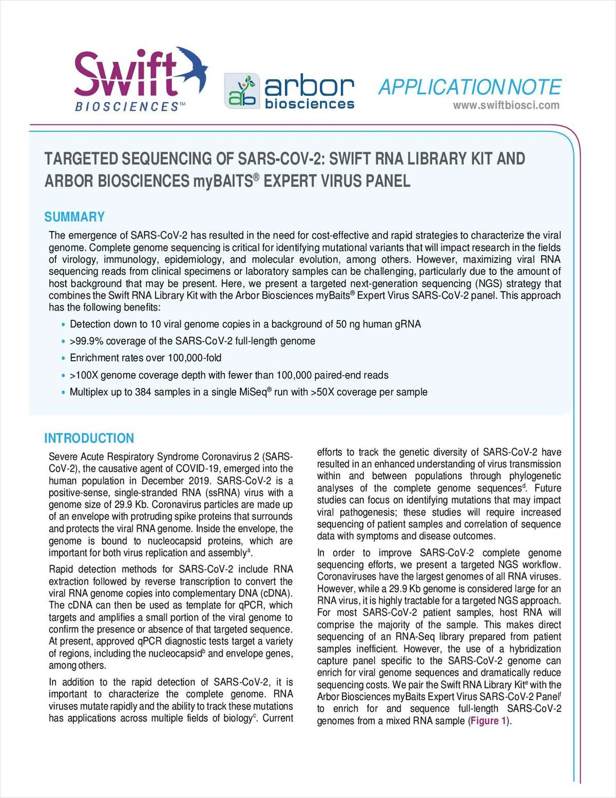 Targeted Sequencing of SARS-COV-2: Swift RNALibrary Kit and Arbor Biosciences myBAITS Expert Virus Panel