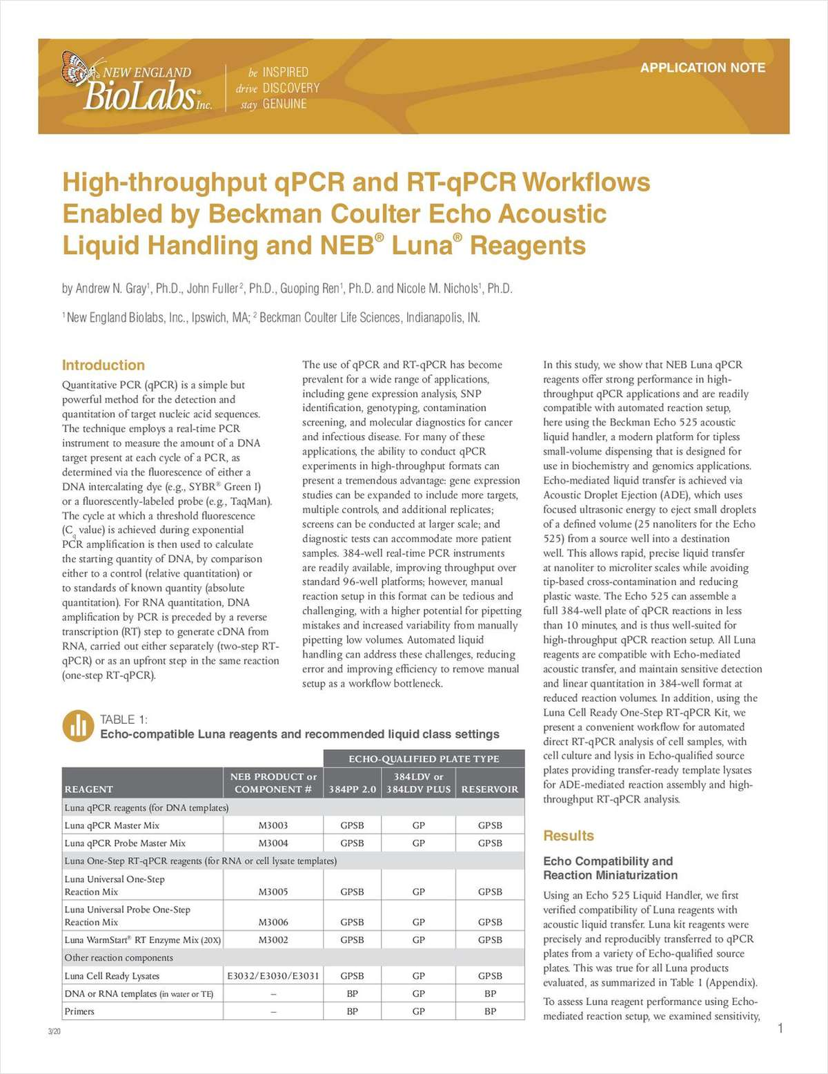 High-throughput qPCR and RT-qPCR Workflows Enabled by Beckman Coulter Echo Acoustic Liquid Handling and NEB Luna Reagents