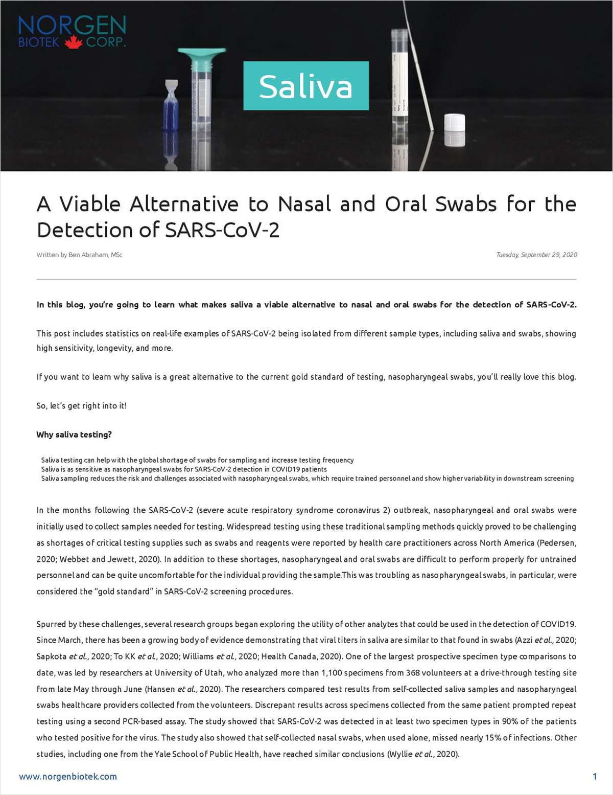 Saliva: A Viable Alternative to Nasal and Oral Swabs for the Detection of SARS-CoV-2