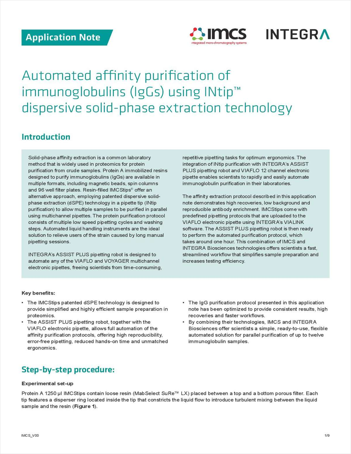 Automated Affinity Purification of Immunoglobulins (IgGs) Using INtip Dispersive Solid-Phase Extraction Technology
