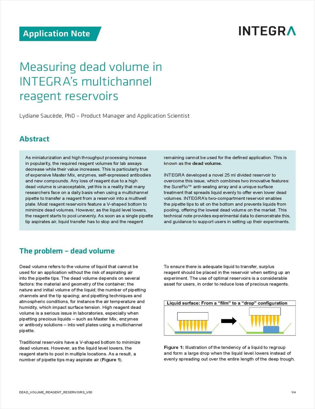 Measuring Dead Volume in INTEGRA's Multichannel Reagent Reservoirs