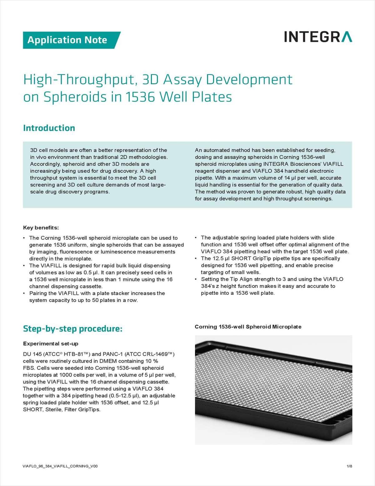 High-Throughput, 3D Assay Development on Spheroids in 1536 Well Plates