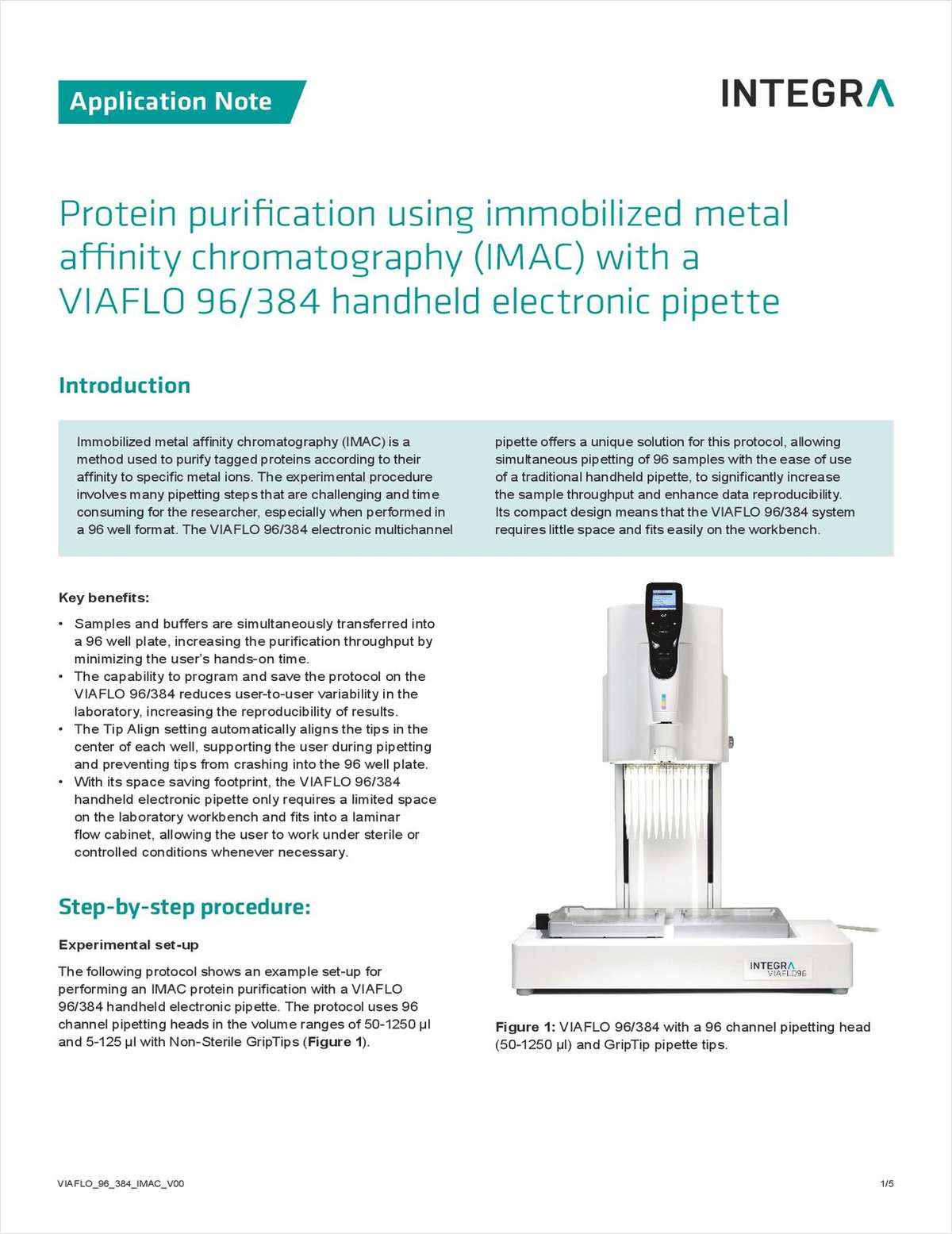 Protein Purification Using Immobilized Metal Affinity Chromatography (IMAC) with a VIAFLO 96/384 Handheld Electronic Pipette