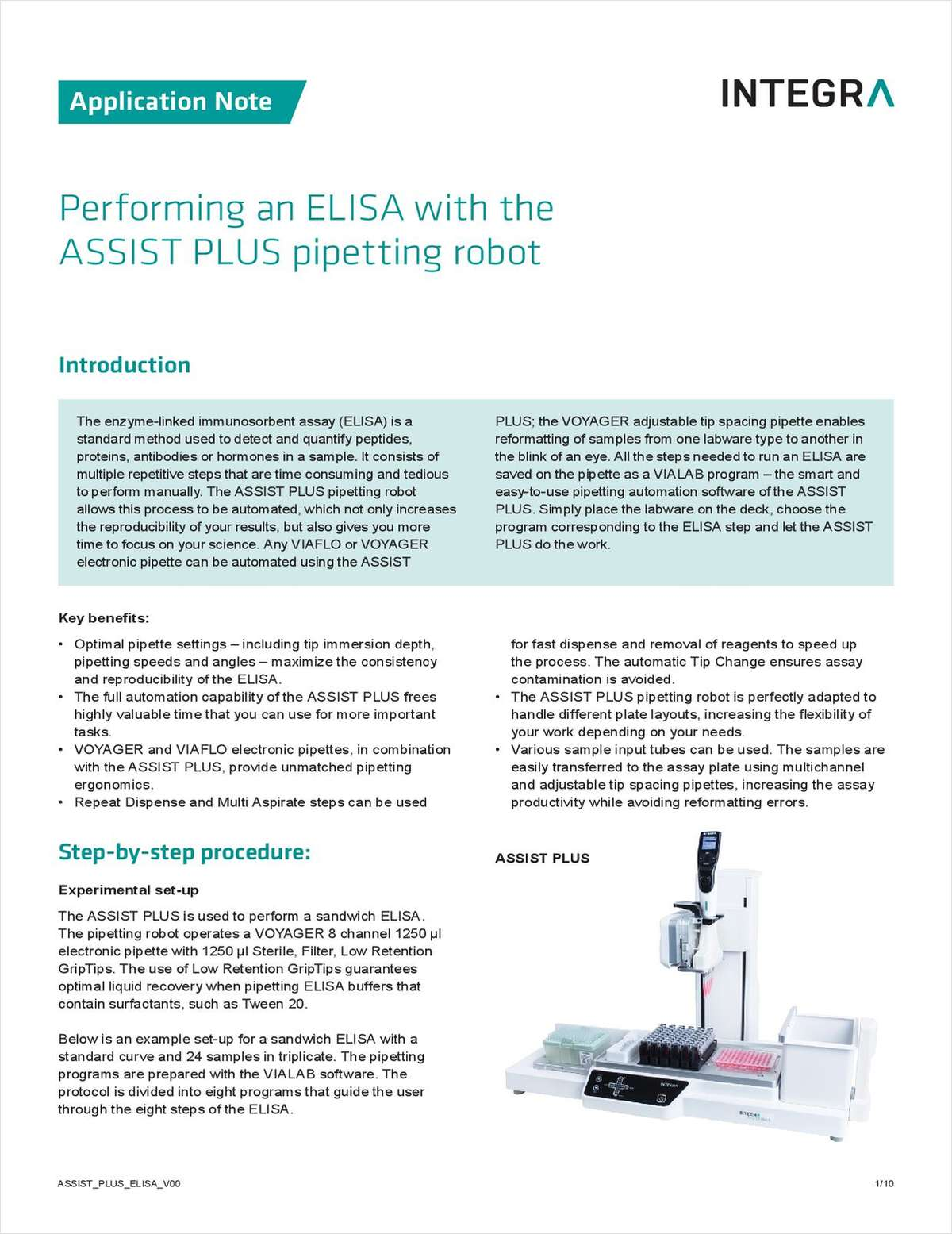 Performing an ELISA with the ASSIST PLUS Pipetting Robot
