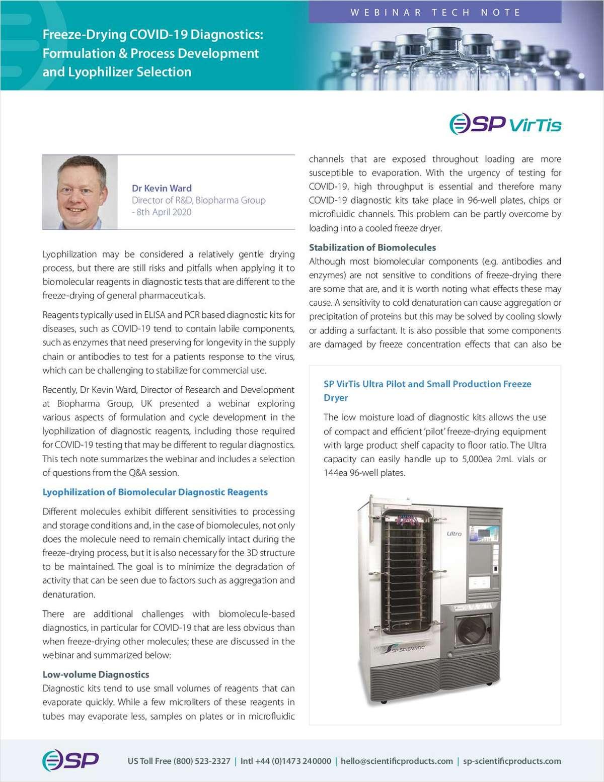 Freeze-Drying COVID-19 Diagnostics: Formulation & Process Development and Lyophilizer Selection