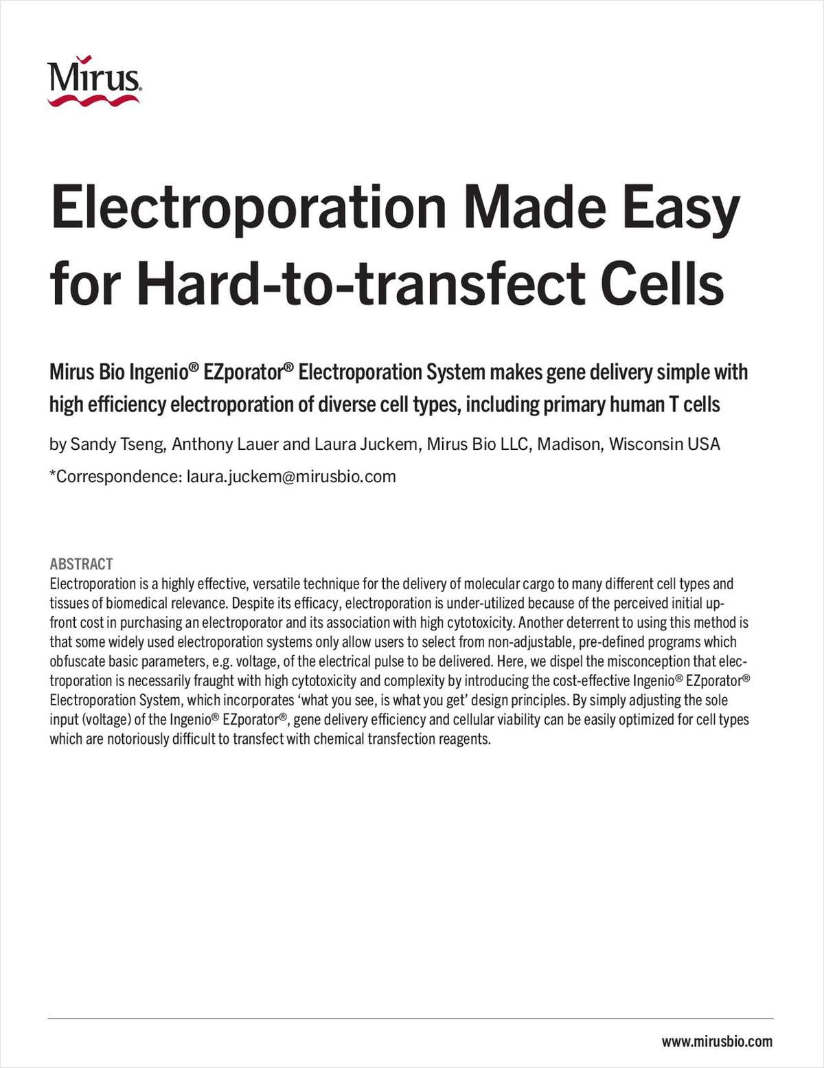Electroporation Made Easy for Hard-to-Transfect Cells