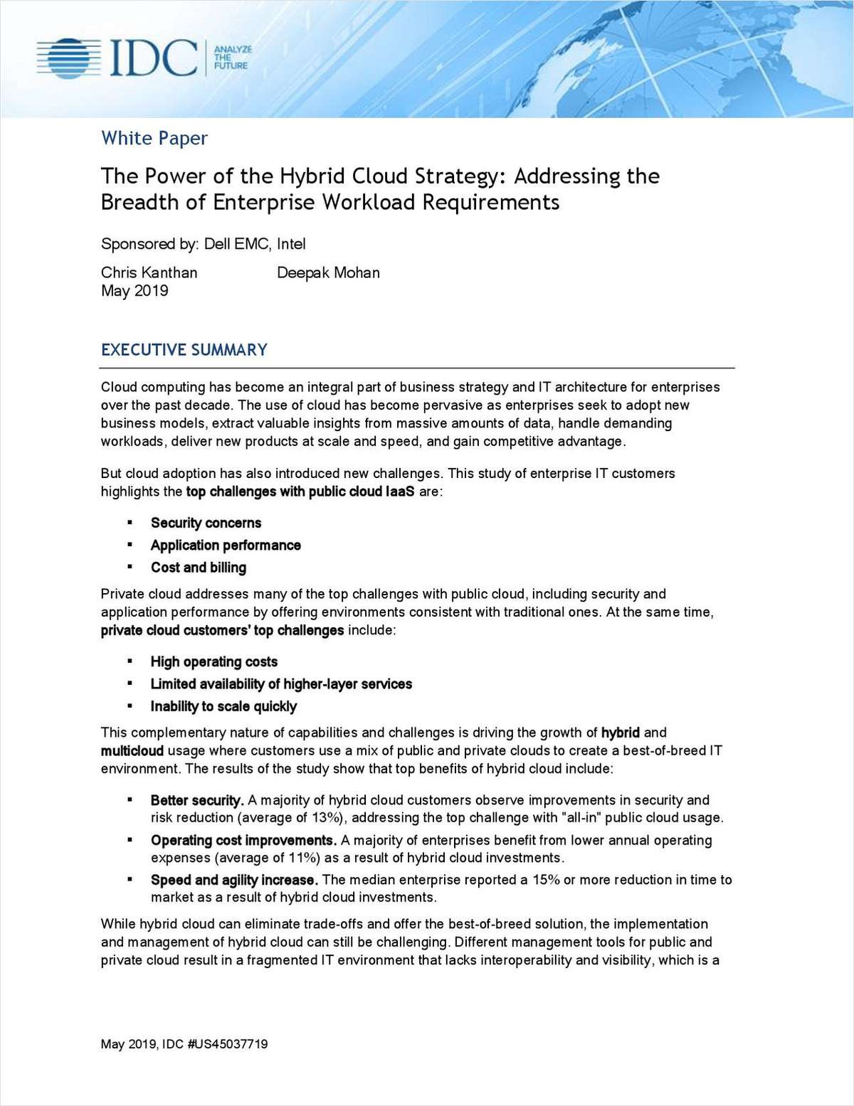 The Power of the Hybrid Cloud Strategy: Addressing the Breadth of Enterprise Workload Requirements