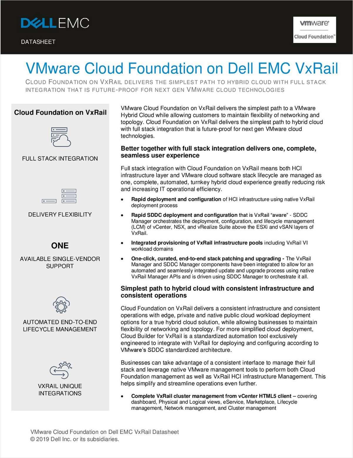 VMware Cloud Foundation on Dell EMC VxRail