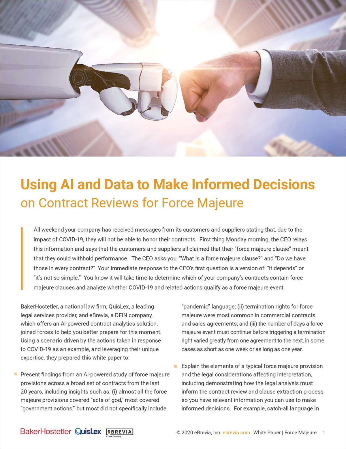 Using AI and Data to Make Informed Decisions on Contract Reviews for Force Majeure