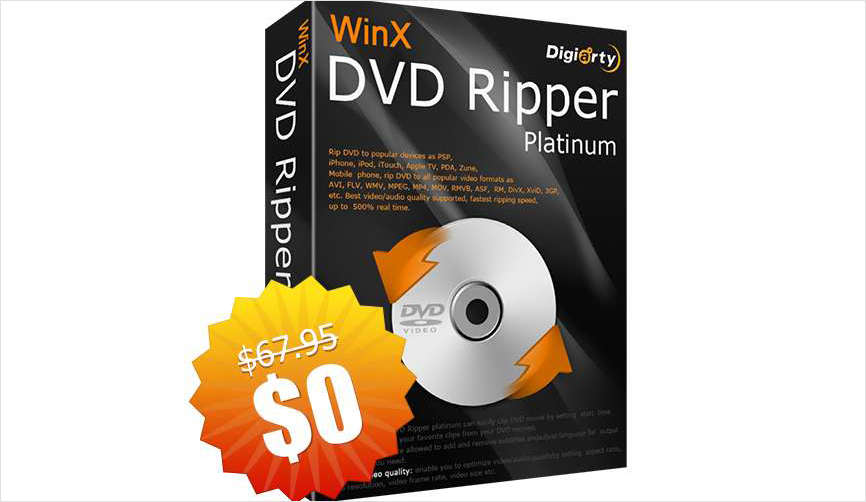WinX DVD Ripper Platinum - Fastest and Strongest DVD Rip & Backup Tool for PC/Mac ($67.95 Value) FREE for a Limited Time