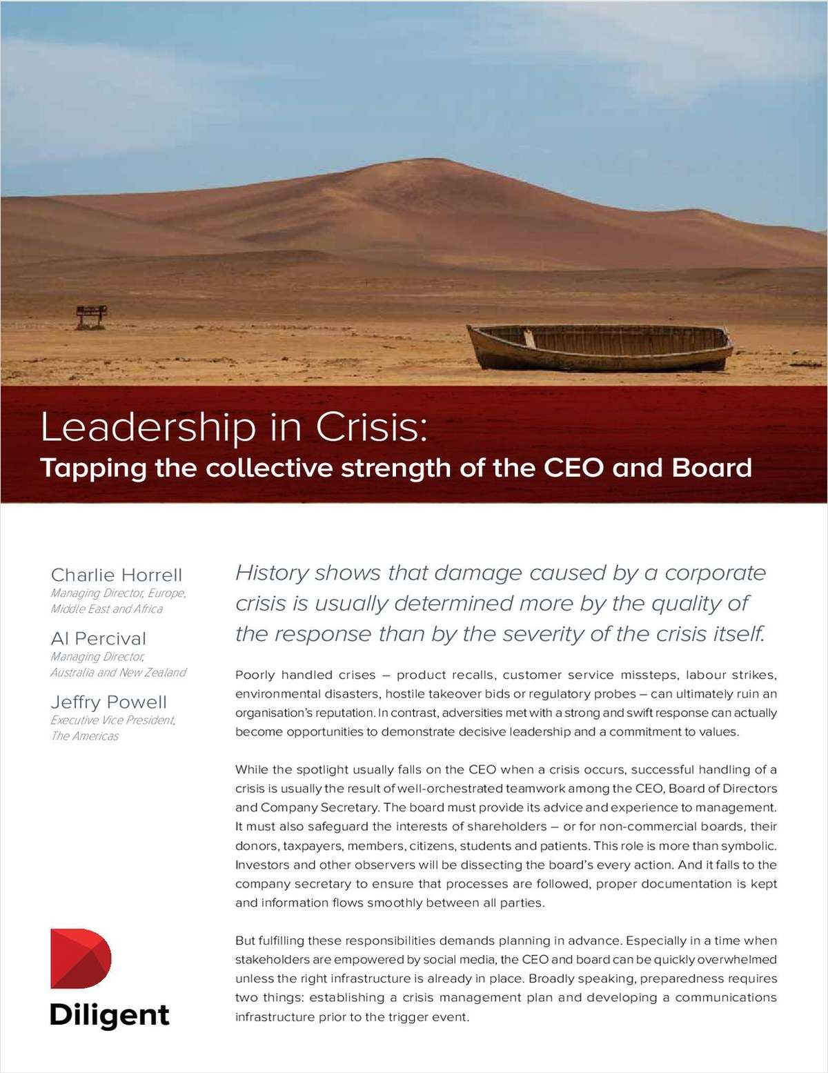 Leadership in Crisis: Tapping the Collective Strength of the CEO and Board