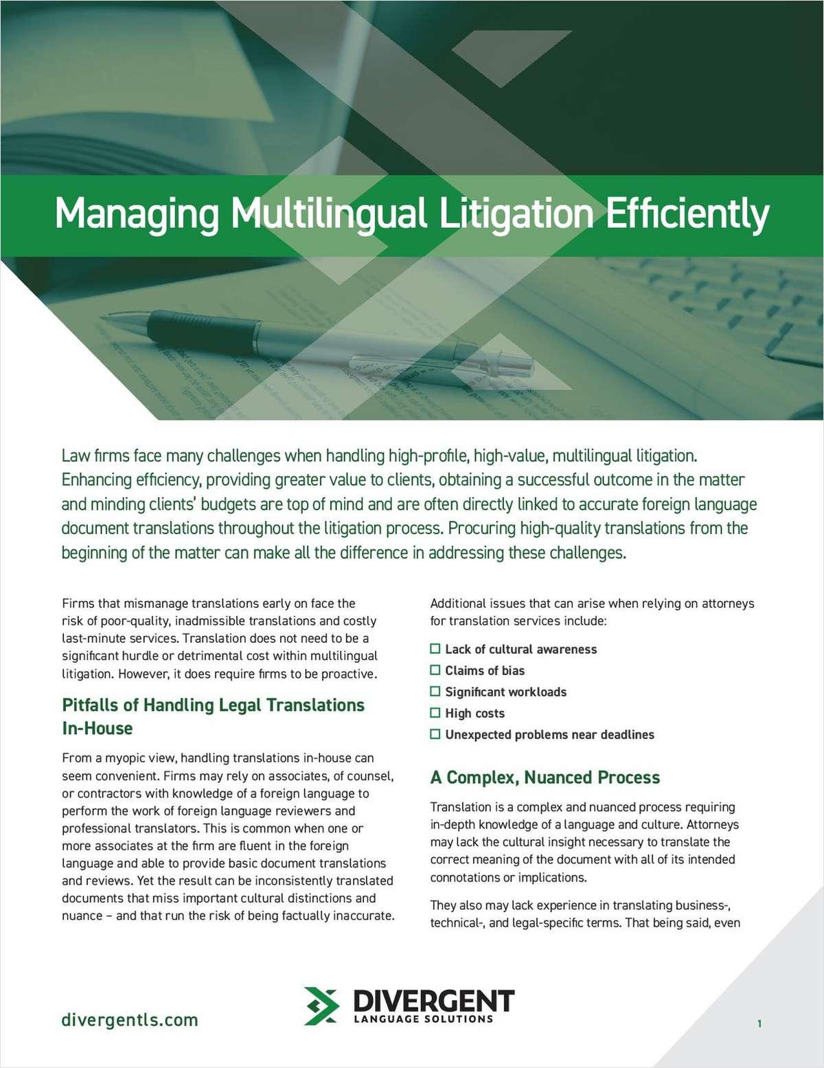 Managing Multilingual Litigation Efficiently
