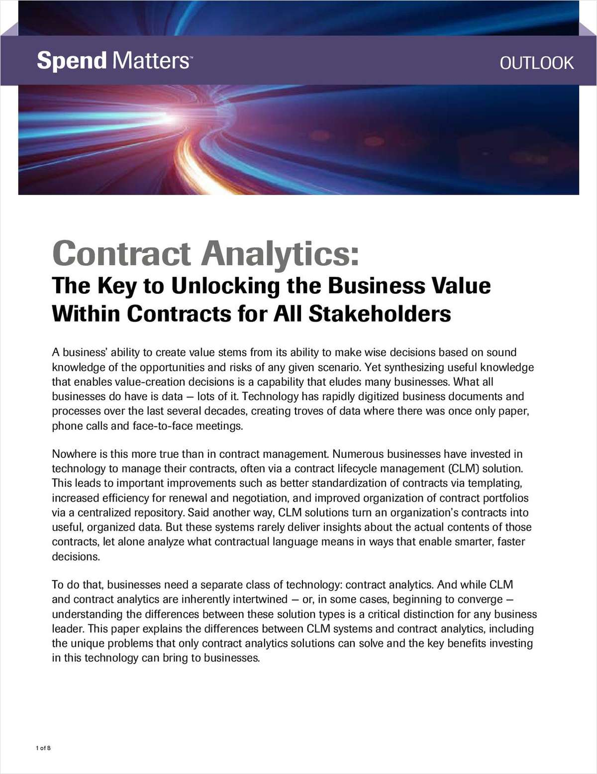 Contract Analytics - The Key to Unlocking Business Value within Contracts for All Stakeholders