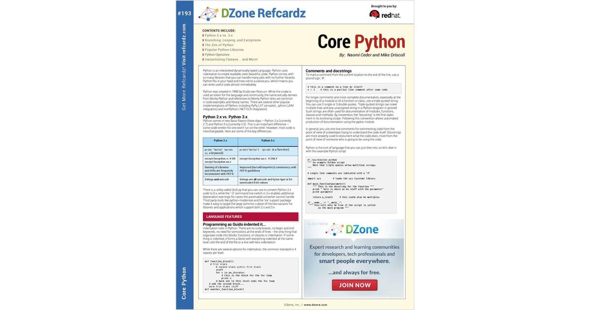The Essential Core Python Cheat Sheet Free Dzone Cheat Sheet