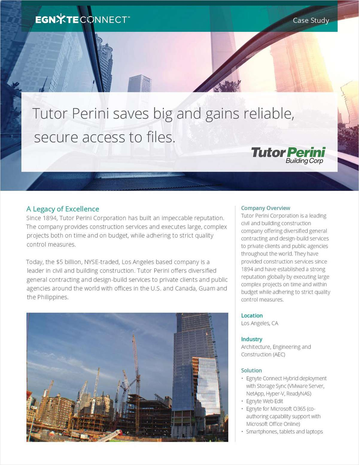 Tutor Perini Saves Big and Gains Reliable, Secure Access to Files