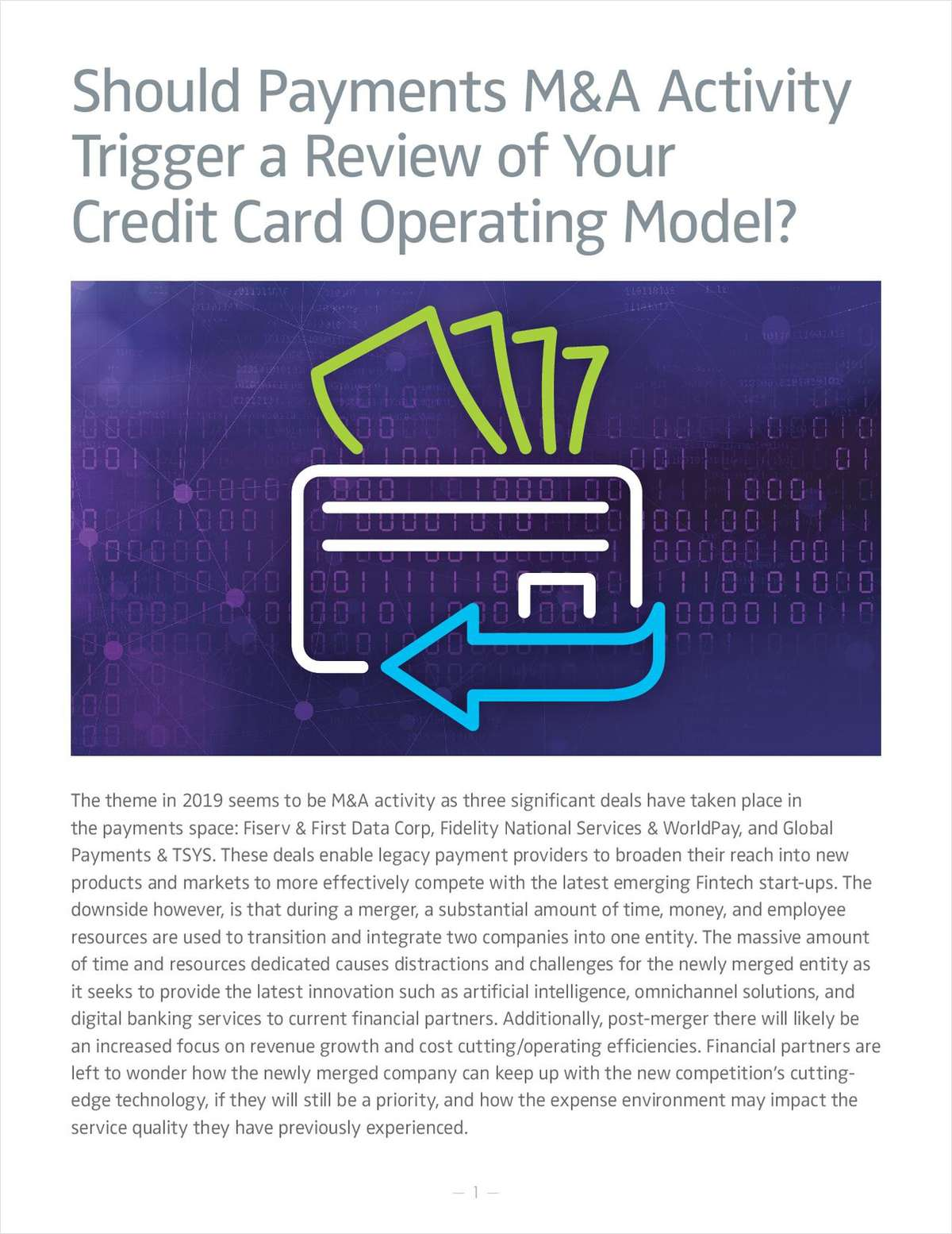 Should Payments M&A Activity Trigger a Review of Your Credit Card Operating Model?