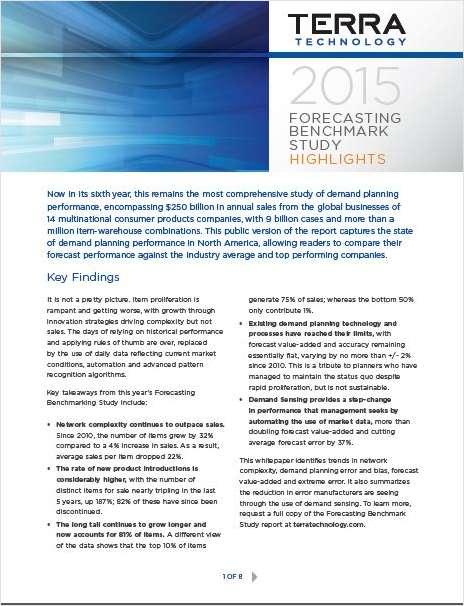 2015 Forecasting Benchmark Study Highlights