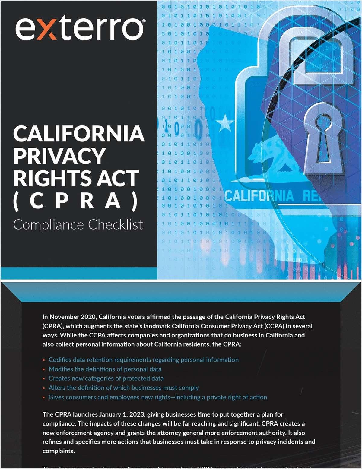California Privacy Rights Act (CPRA): Compliance Checklist