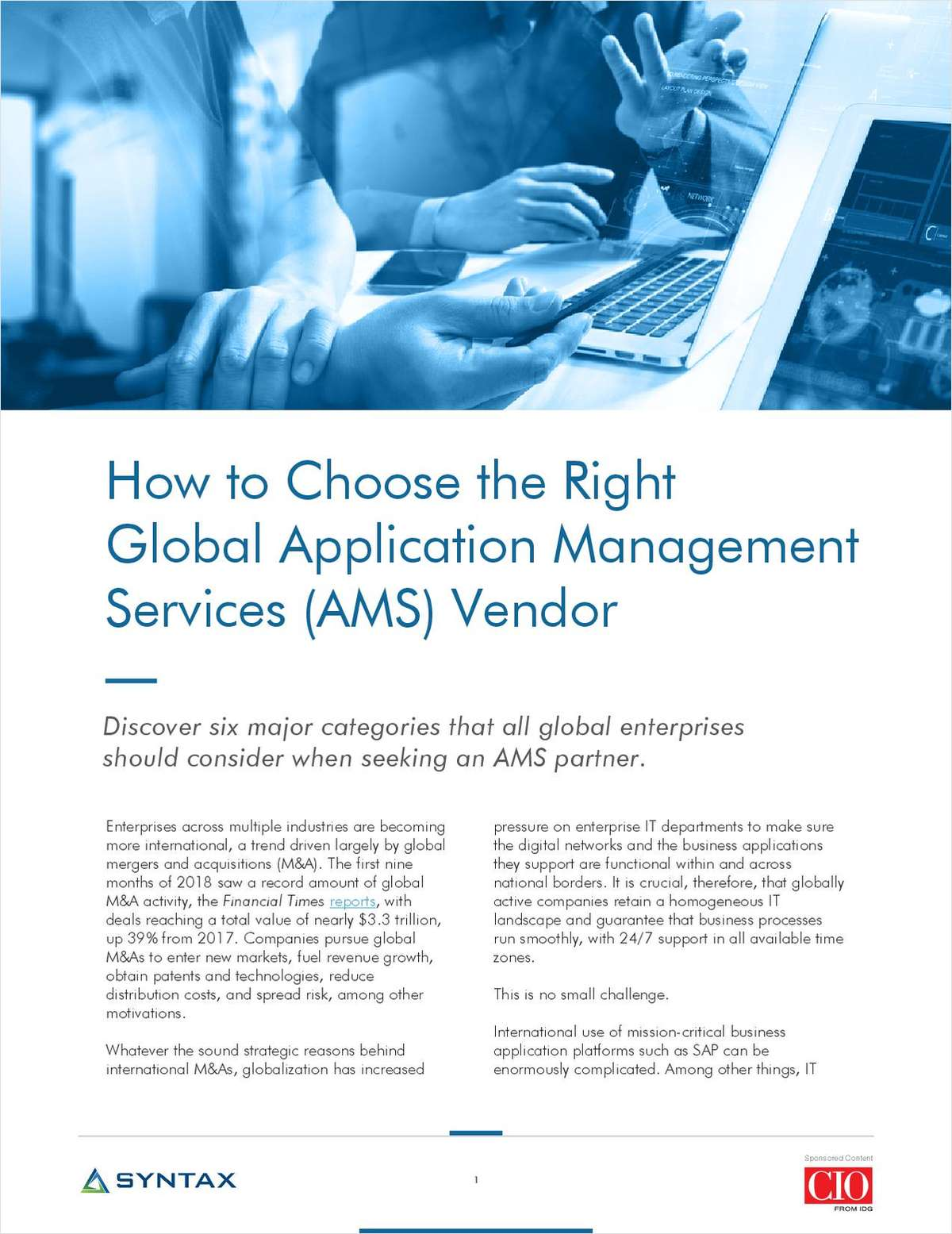 How to Choose the Right Global Application Management Services (AMS) Vendor
