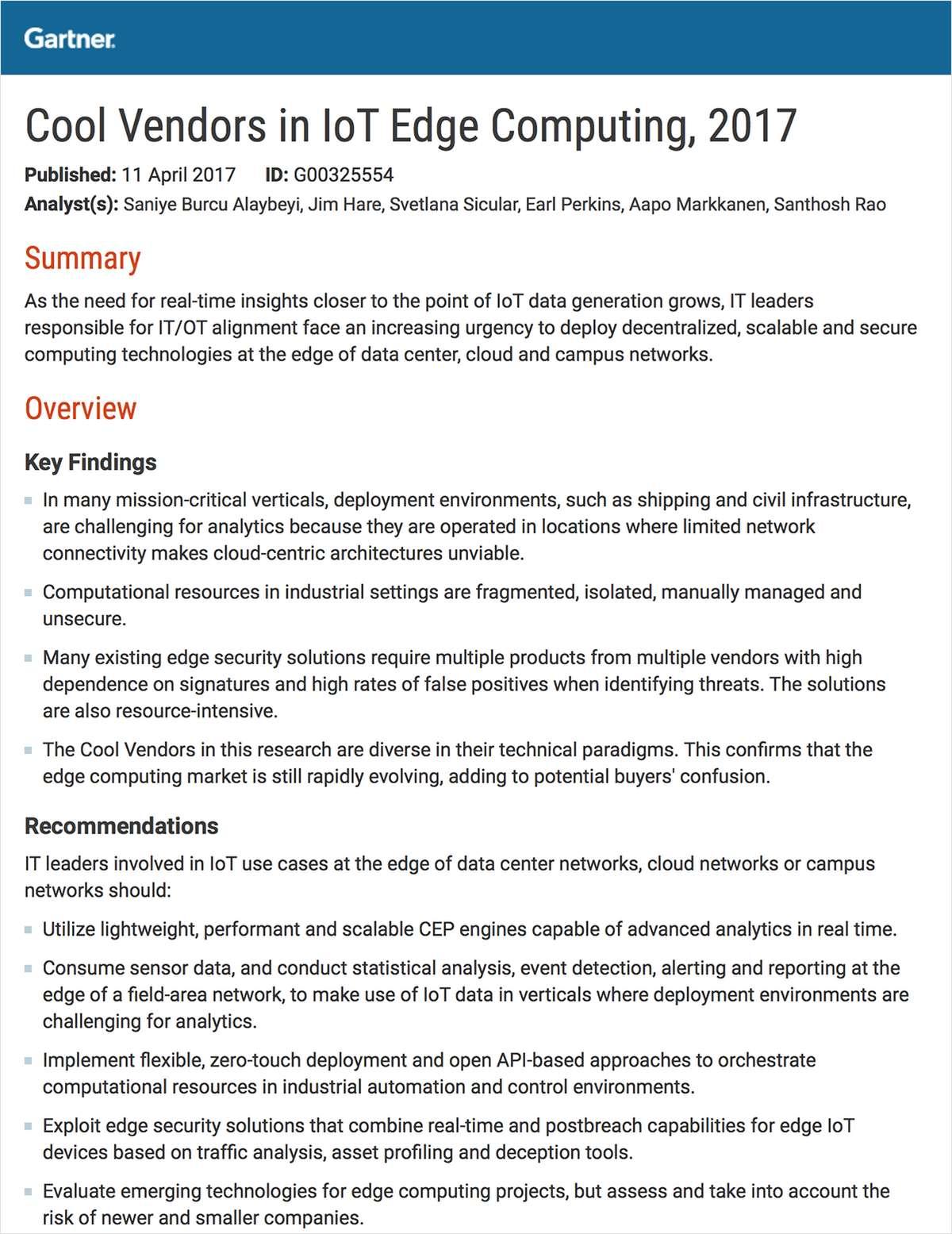 Gartner Cool Vendors in IoT Edge Computing, 2017