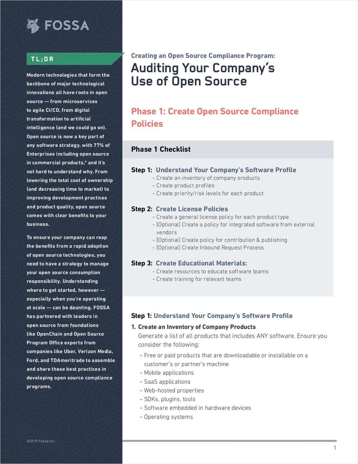 Open Source Compliance Program Checklist