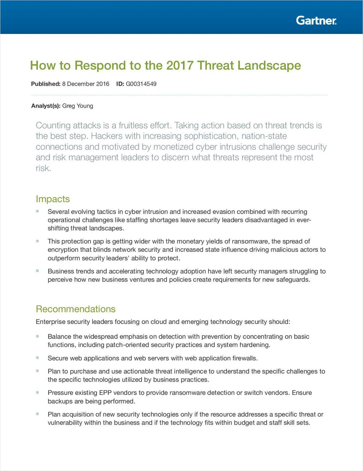 How to Respond to the 2017 Threat Landscape