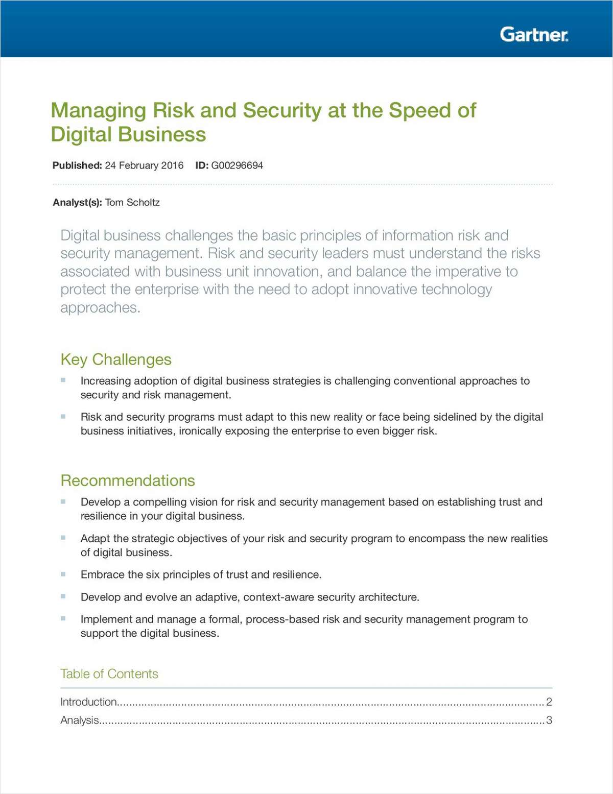 Managing Risk and Security at the Speed of Digital Business