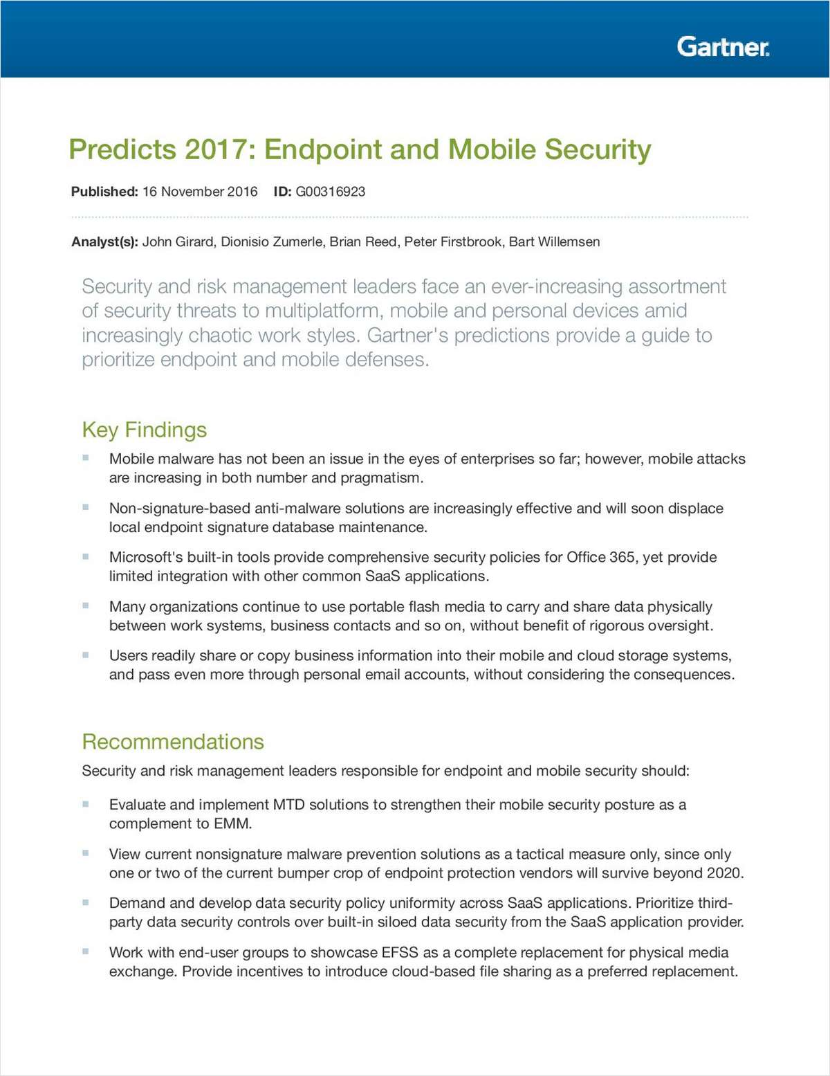 Predicts 2017: Endpoint and Mobile Security