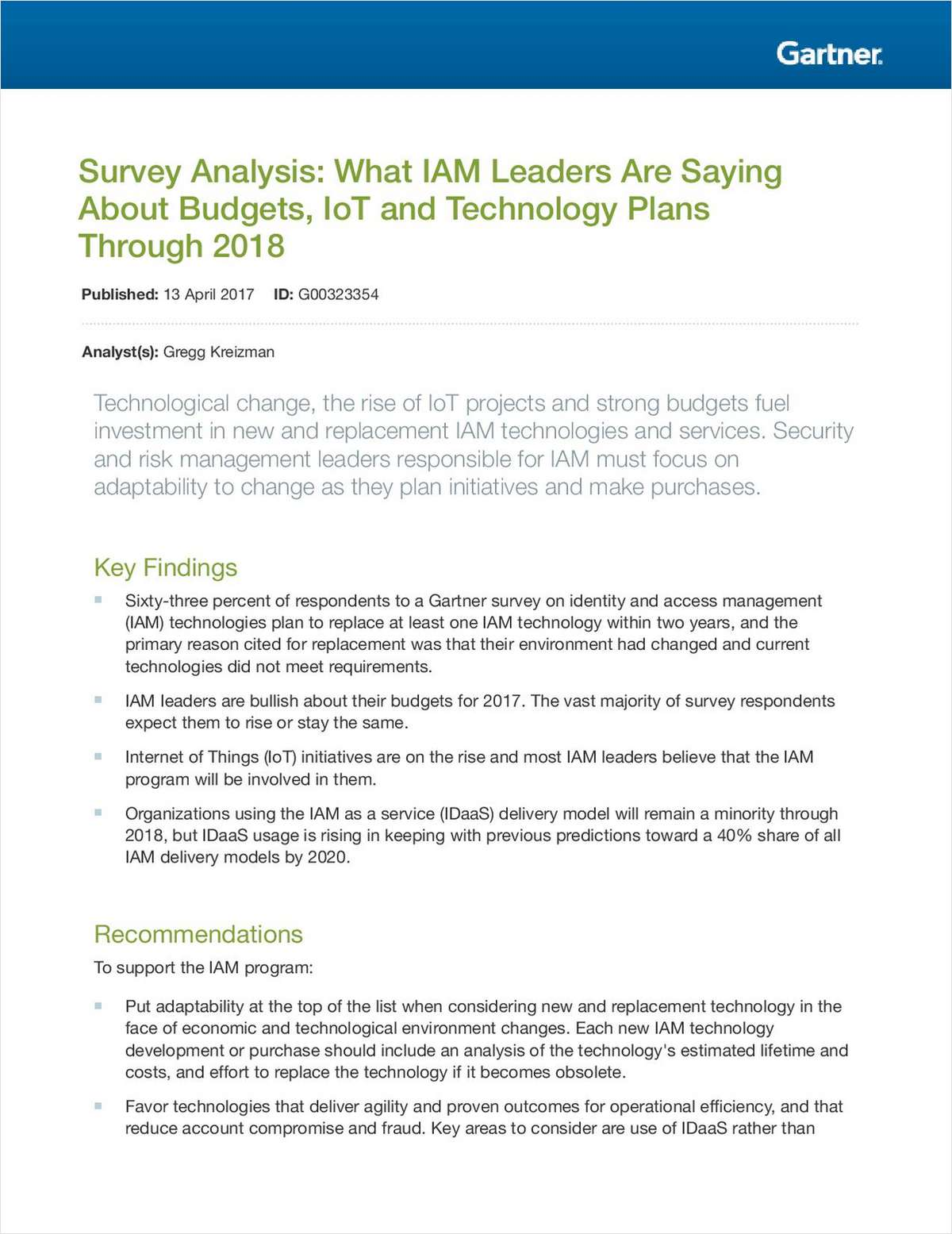 Survey Analysis: What IAM Leaders are Saying about Budget, IoT and Technology Plans Through 2018